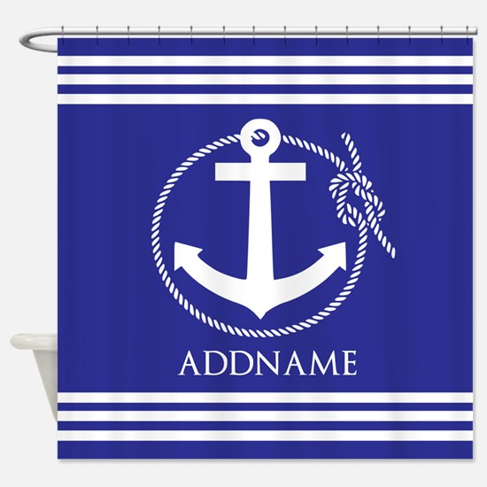 Blue Nautical Rope and Anchor Perso Shower Curtain