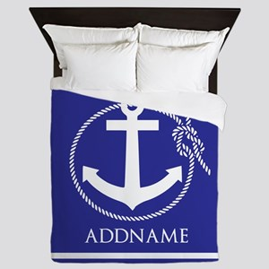 Blue Nautical Rope and Anchor Personal Queen Duvet