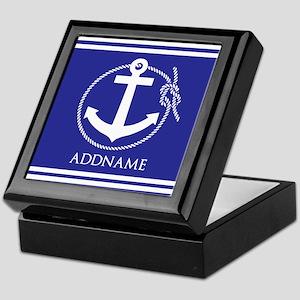 Blue Nautical Rope and Anchor Persona Keepsake Box