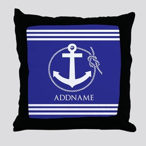 Blue Nautical Rope and Anchor Persona Throw Pillow