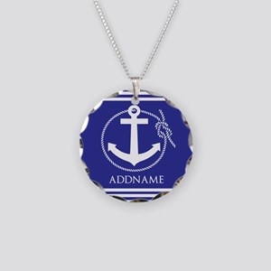 Blue Nautical Rope and Ancho Necklace Circle Charm