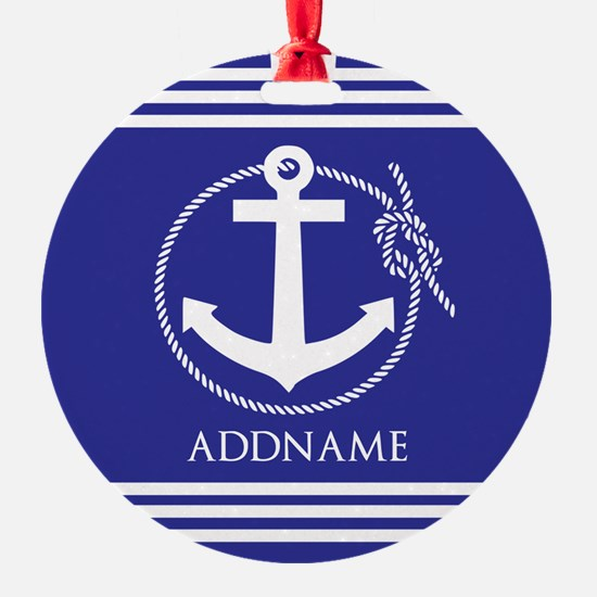 Blue Nautical Rope and Anchor Perso Ornament