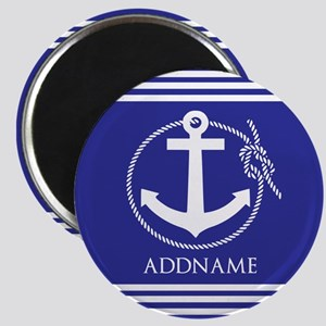 Blue Nautical Rope and Anchor Personalized Magnet