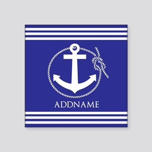 """Blue Nautical Rope and Anch Square Sticker 3"""" x 3"""""""