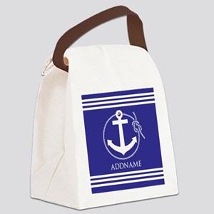 Blue Nautical Rope and Anchor Per Canvas Lunch Bag