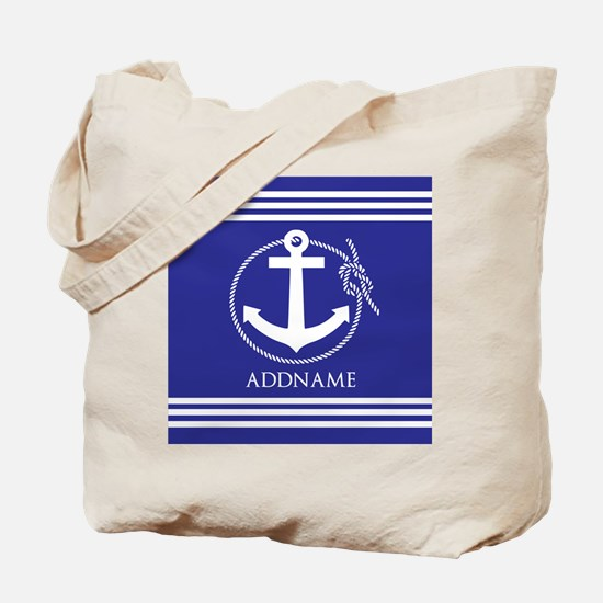 Blue Nautical Rope and Anchor Personalize Tote Bag