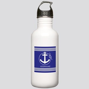Blue Nautical Rope and Stainless Water Bottle 1.0L