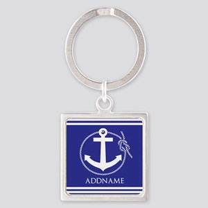 Blue Nautical Rope and Anchor Pers Square Keychain