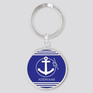Blue Nautical Rope and Anchor Perso Round Keychain
