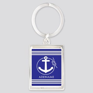 Blue Nautical Rope and Anchor Pe Portrait Keychain