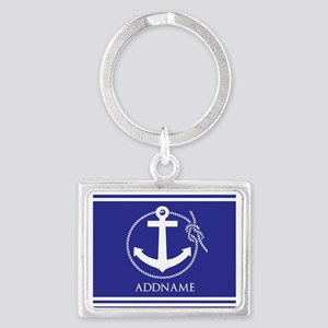 Blue Nautical Rope and Anchor P Landscape Keychain