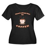 Coffee Time Women's Plus Size Scoop Neck Dark T-Sh