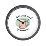Will Work For Cappuccino Wall Clock