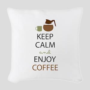 Enjoy Coffee Woven Throw Pillow