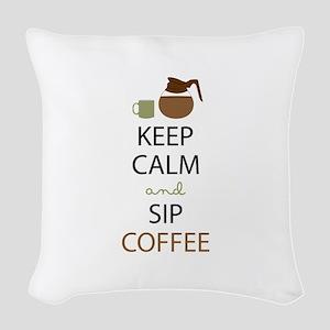 Sip Coffee Woven Throw Pillow