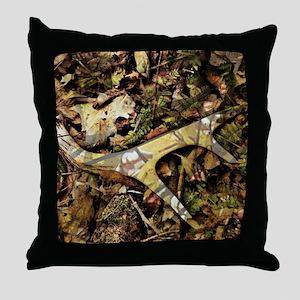 camouflage deer antler Throw Pillow