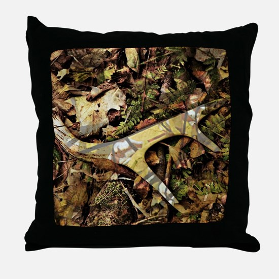 camouflage deer antler Throw Pillow