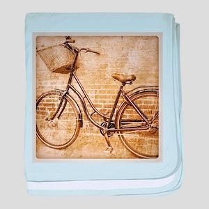 vintage Bicycle retro art baby blanket