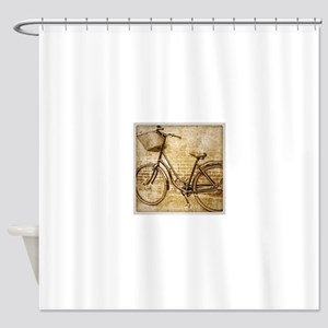 vintage Bicycle retro art Shower Curtain