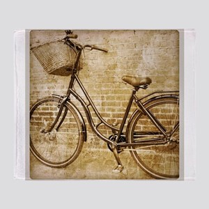 vintage Bicycle retro art Throw Blanket