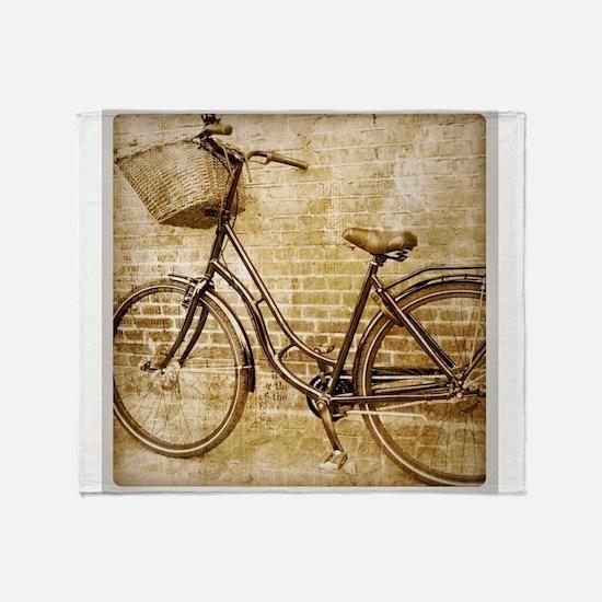 vintage Bicycle retro art Throw Blanket