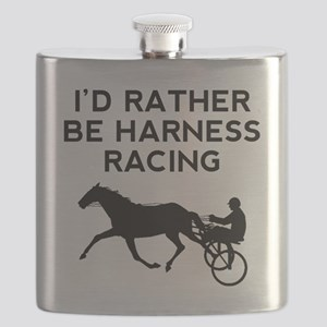 Id Rather Be Harness Racing Flask