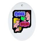 Retro Coffee Break Oval Ornament