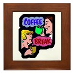 Retro Coffee Break Framed Tile