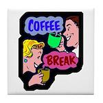 Retro Coffee Break Tile Coaster