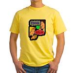 Retro Coffee Break Yellow T-Shirt