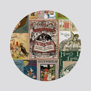 Vintage Book Cover Illustrations Ornament (Round)