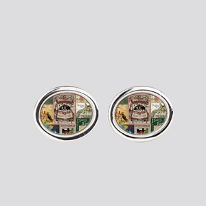 Vintage Book Cover Illustrations Oval Cufflinks