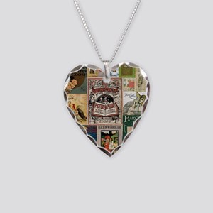 Vintage Book Cover Illustrations Necklace