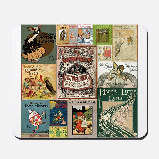 Vintage Book Cover Illustrations Mousepad