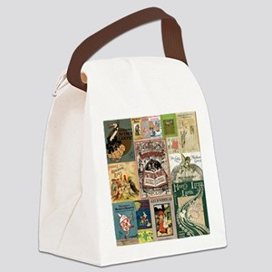 Vintage Book Cover Illustrations Canvas Lunch Bag