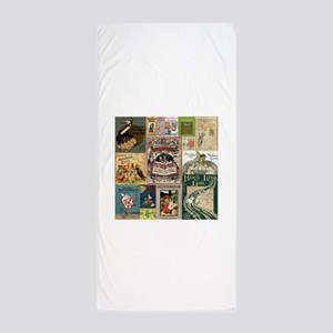 Vintage Book Cover Illustrations Beach Towel