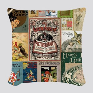 Vintage Book Cover Illustrations Woven Throw Pillo