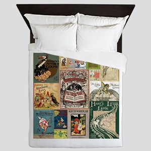 Vintage Book Cover Illustrations Queen Duvet