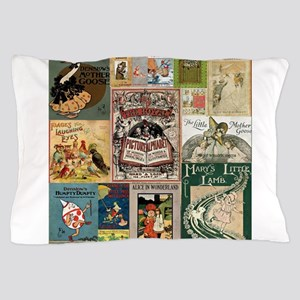 Vintage Book Cover Illustrations Pillow Case