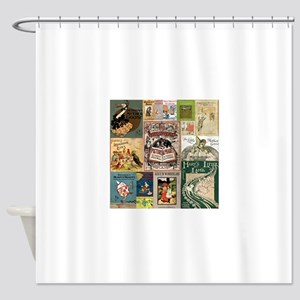 Vintage Book Cover Illustrations Shower Curtain
