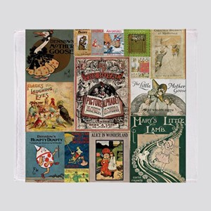 Vintage Book Cover Illustrations Throw Blanket