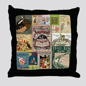 Vintage Book Cover Illustrations Throw Pillow