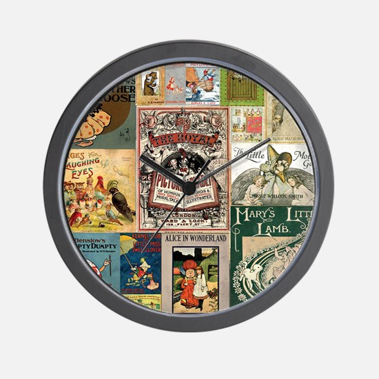 Vintage Book Cover Illustrations Wall Clock