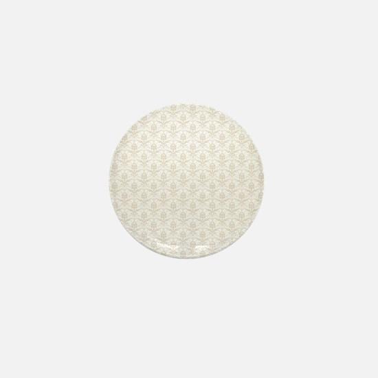 Beige White Damask Mini Button