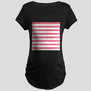 Pink White Large Bold Stripes Maternity T-Shirt