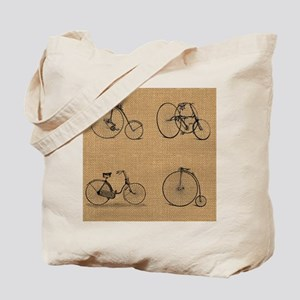 Burlap Vintage Bicycles Illustration Tote Bag