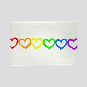 Rainbow of hearts Rectangle Magnet