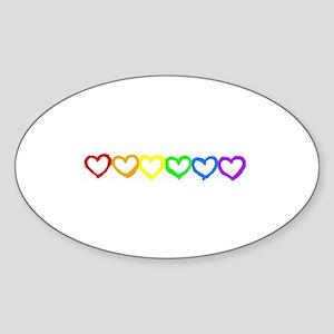 Rainbow of hearts Oval Sticker