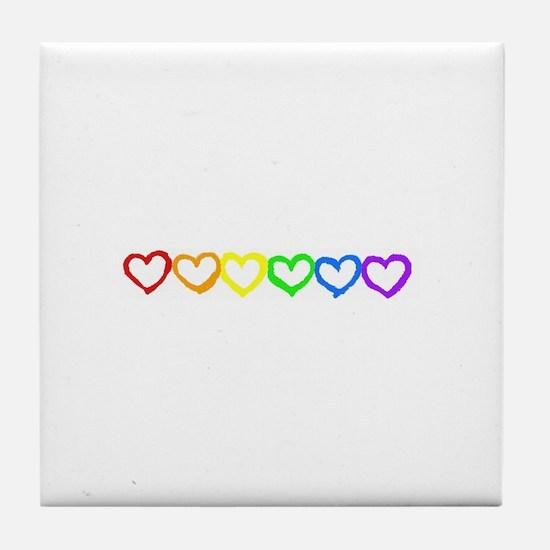 Rainbow of hearts Tile Coaster