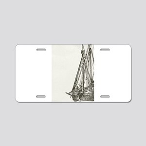 Pirate Ship Illustration Aluminum License Plate